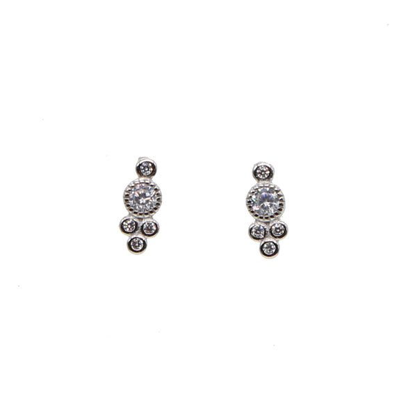 Fashion Elegant minimal Gold cz Crystal Full Stud Earrings for Woman Girl Statement 925 silver Perforated Earring Jewelry Gift