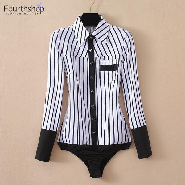 Fashion Striped Shirt Bodysuits for Women Office Shirts Long Sleeves Bodysuit