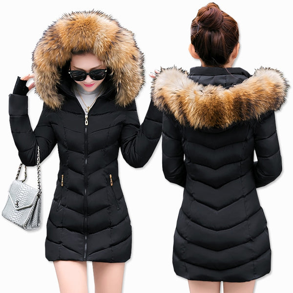 Fashion Winter Jacket Women Big Fur Belt Hooded Thick Down Parkas X-Long Female Jacket Coat Slim Warm Winter Outwear 2019 New