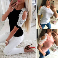 Fashion Women Blouse 2018 New Ladies Summer Embroidery Beading Lace Cotton Short Sleeve Casual Shirt Tops Blouse Plus Size S-2XL
