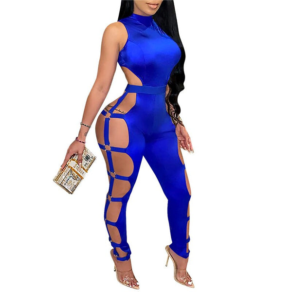 Women's Long Sleeve Hollow Out Sexy Jumpsuit with Ring Decor