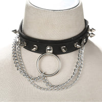 Faux Leather Choker Spike punk Harajuku Goth Collar belt Necklace Metal Chain choker bondage Rock club party festival jewelry