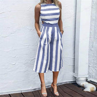 Feitong 2019 Sexy Women Sleeveless Striped Jumpsuit Romper Women Casual Clubwear Beach Casual Wide Leg Pants Outfit Playsuit#xqx