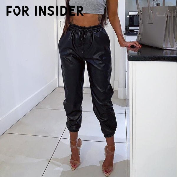 For Insider High Waist black PU leather pants women Casual harem punk pants female Winter loose streetwear trousers bottom