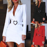 Formal Dress Women Office Lady Solid Turn Down Sexy Deep V Neck Long Sleeve Dress Summer and winter