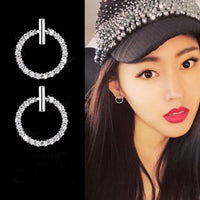 Free Shipping Fashion 925 Sterling Silver Crystal Rhinestone Geometric Round Stud Earrings For Women Beautiful Jewelry