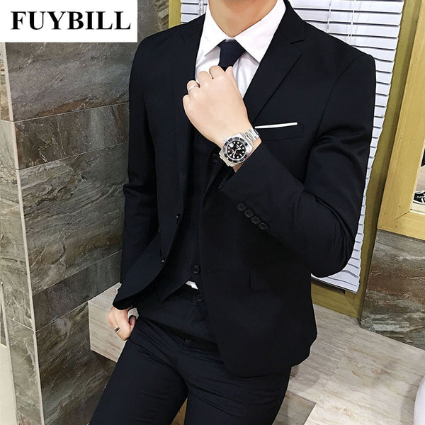 FuyBill 2018 Spring New Men's Business Leisure Life Style Suit Three Pieces of Comfortable Version Type Western Suit Collar Suit