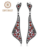 GEM'S BALLET New Natural Garnet Irregular Triangle Drop Earrings 925 Sterling Sliver Vintage Earrings For Women Engagement Fine