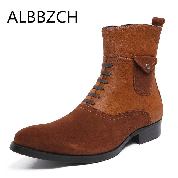 Genuine leather men boots fahion horse hair and cow leather patchwork luxury design mens career work boots wddding dress shoes
