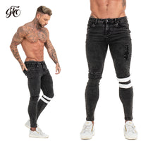 Gingtto 2019 New Men Skinny Jeans Skinny Slim Fit Stretchy Blue Jeans Big Size Cotton Lightweight Comfy Hip Hop White Tape zm49