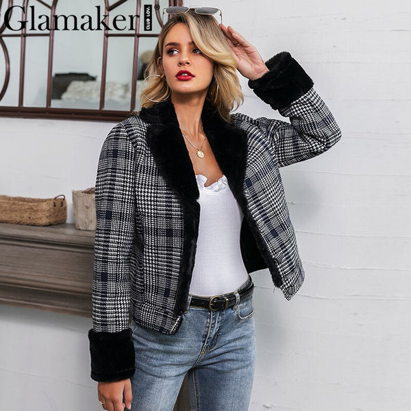 Glamaker Faux fur plaid coat furry jacket Women sexy black patchwork warm thick outwear Autumn fake fur short jacket coat winter