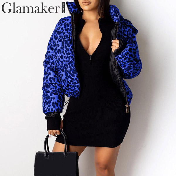 Glamaker Leopard animal print thick basic jacket coat Female short hooded coat parkas Warm big size zipper jacket women winter