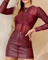 Lace Long Sleeve Bodysuit & PU Leather Skirt Set Sexy Women Two Piece Set