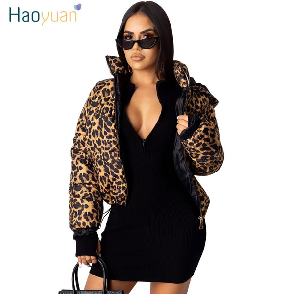 HAOYUAN Camo Leopard Print Winter Jacket Women Fall Clothing Sexy Warm Bubble Coat Plus Size Outwear Thick Parka Puffer Jacket