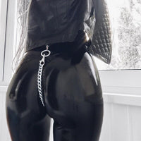 Leather Pants with Metal Chain Faux Leather Pencil Trousers Women Sexy Elastic Leggings