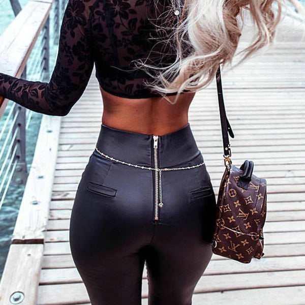 Women High Waist Skinny Pencil Pants Back Zipper Leather Trousers Chaparajos Satin Leggings Female Office Wear Slacks Streetwear