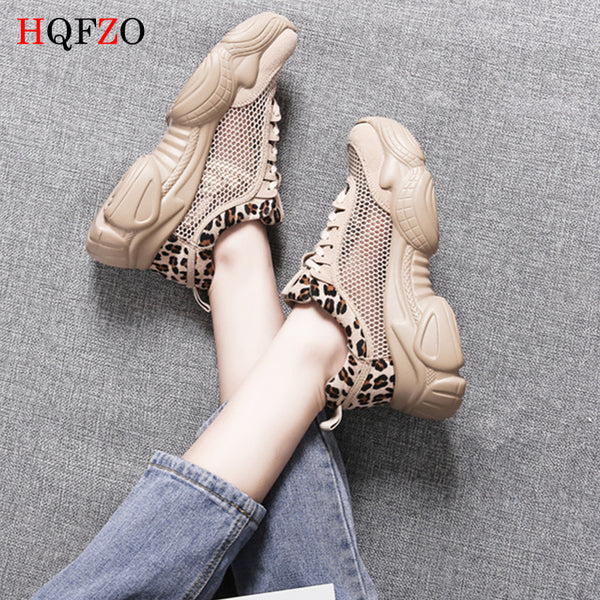 HQFZO Breathable Hollow Lace-Up Leopard Women Sneakers Tenis Plataforma Women Casual Shoes Summer 2019 Mujer