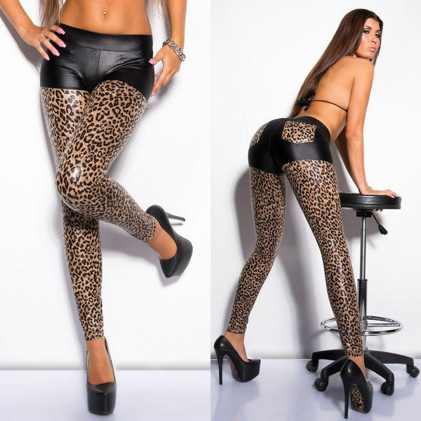 Free Shipping High Quality Women Leopard Print Leggings Women Leather Legging Sexy Leggings Fashion Pattern Leggings 3F8474