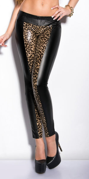 Black Sexy Wet Look Faux Leather Leopard Legging Ladies Stretch Pant Fashion Woman Metallic Stretchy Punk Leggings