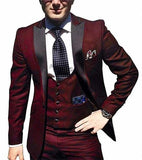 Burgundy Men Suits Slim Fit Groom Tuxedos Men Wedding Tuxedos High Quality Men Formal Business Prom Party Suit(Jacket+Pants