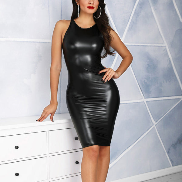 Women Sexy PU Leather Bodycon Midi Dress Casual Clubwear Party Dresses Leather Sleeveless Slim Summer Dress Female Vestidos