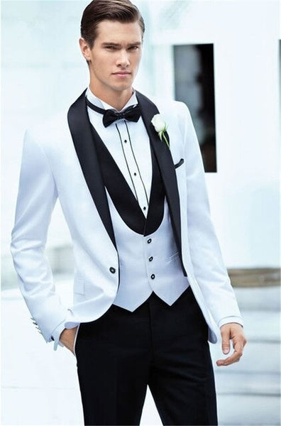 2019 Latest White Jacket With Black Pants Men's Slim Fit Custom Made Suits Men Business Wedding Tuxedos Prom Suits Traje Hombre