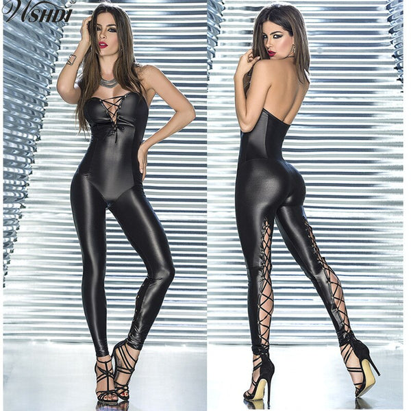 Women Sexy Lace Up Leg Bodysuit PU Leather Jumpsuits Latex Slim Catsuit Bodycon Off Shoulder Nightclub Bondage Bar DJ Costumes