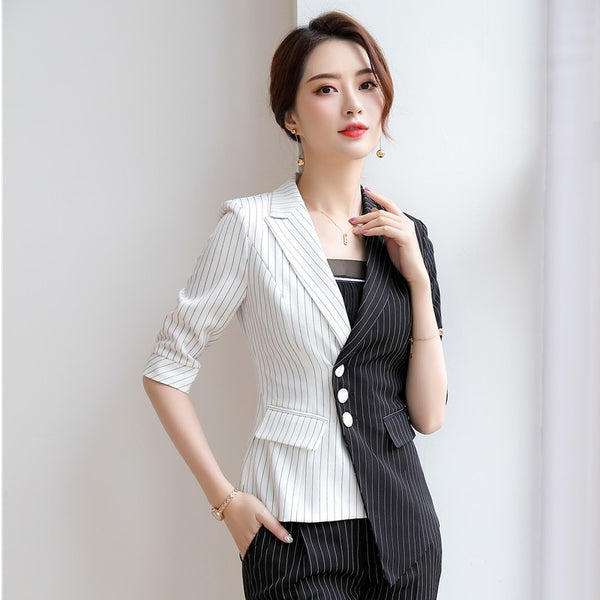 Half Sleeve 2019 Spring Summer Formal Blazers and Jackets Coat For Women Female Tops Outwear Business Work Wear Clothes Striped
