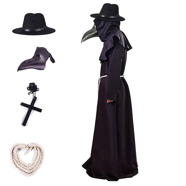 Halloween Plague Doctor Costume Medieval Hood Robe Dress and Mask for Men