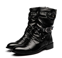 High Quality  Leather Boots Men Uniform Basic Motorcycle Boots Men Mid Calf Punk Rock Black Shoes Botas Hombre size 38--44