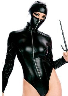 High Quality Sexy Patent Leather Catsuit Halloween Sexy Ninja Cosplay Costumes Masked Woman Clubwear Uniforms