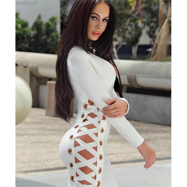 High Quality Sexy Women Dress Long Sleeves Deep V Neck Bandage Dress for Summer or Winter