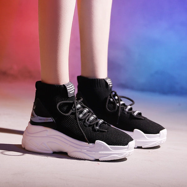 High Top Men Women Sneakers 5 Cm Thick Sole Sock Shoes Knit Vamp Breathable Dad Sneaker Shoes White Black Hidden Heel Shoe Mujer