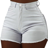 High Waist Denim Shorts For Women Solid Color Bodycon Pocket Short Feminino Summer Shorts Jeans With Tassel