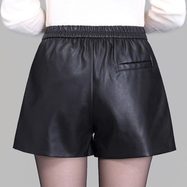 High Waist Women Plus Size Leather Shorts 2019 Spring Fashion Pu Leath Buniversestyle