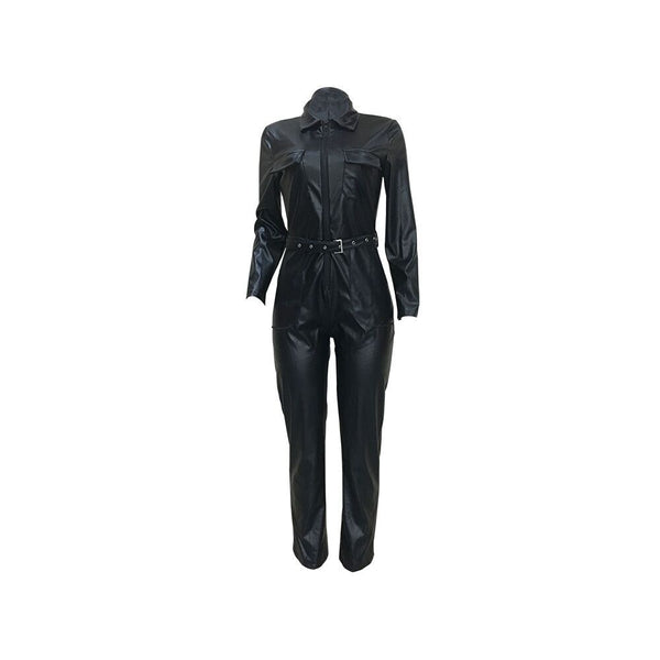 Hodisytian Sexy Jumpsuits For Women Slim Fit Bodysuit PU Leather Long Sleeve Black Stylish Sexy Deep V Rompers Overalls Female