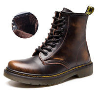 Hot Brand Men's Boots Martens Leather Winter Warm Shoes Motorcycle Mens Ankle Boot Doc Martins Fur Couple Oxfords Shoes