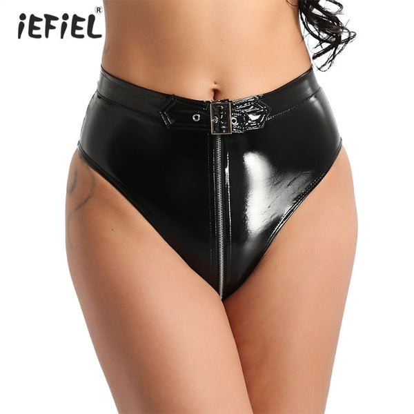 Sexy Women's Wet Look PVC Leather Latex Panties with Zipper Hot Shorts Lingerie