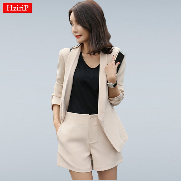 HziriP Work Wear Short Pants Suit Women Summer Autumn Long-sleeved Blazer with Shorts OL Office Ladies Formal Suits Navy Khaki