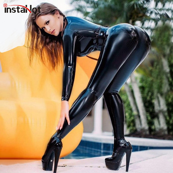 InstaHot Faux Leather Skinny Jumpsuit Zipper Up Fitness Bodysuit Women Long Sleeve High Street Solid Sexy Club Playsuit Autumn