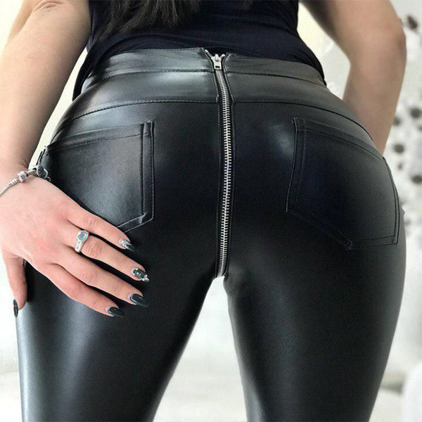 Women's Sexy Leather Pants Back Zipper Trousers for all Seasons