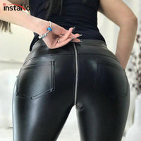 InstaHot Sexy Faux Leather Back Zipper Pants Trousers for Women all Seasons