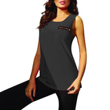 JAYCOSIN Fashion Women Tank 2019 Sports Fitness Vest With Zippers Solid O-Neck Casual Top Brief Plus Size Tank Top April25 P30