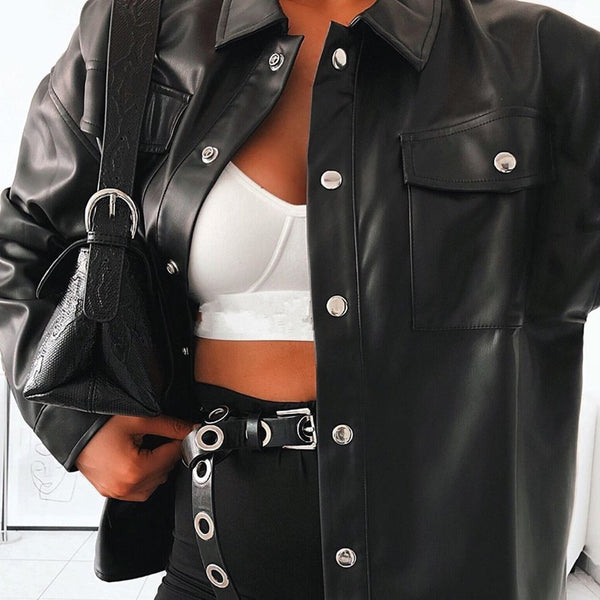 Punk Style Women's Autumn Winter Leather Jacket