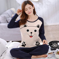JULY'S SONG Women Pajamas Set Spring Autumn New Thin Cartoon Printed Long Sleeve Cute Sleepwear Casual Homewear Female Pyjamas