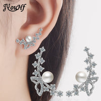 JYouHF 2017 New Design 925 Sterling Silver Earrings for Women White Rose Gold Color Butterfly Pearl Earrings Female Jewelry Gift
