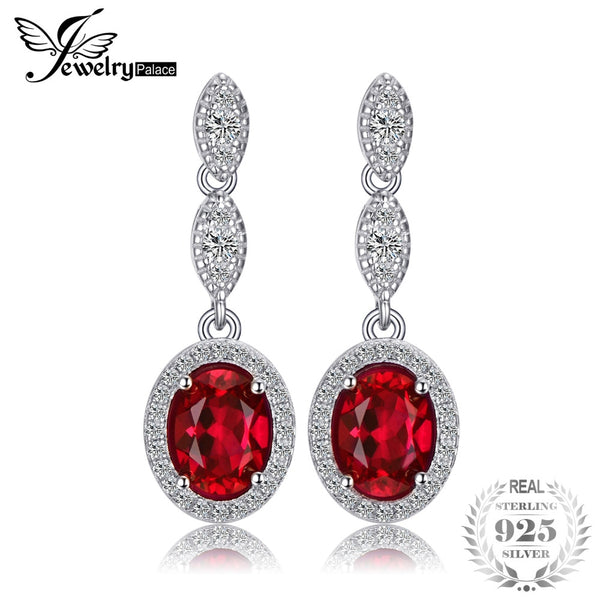 JewelryPalace Oval 4ct Created Red Created Ruby Drop Earrings Real 925 Sterling Silver Wedding Jewelry Trendy Earrings For Women