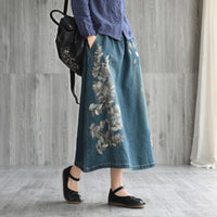 Johnature Casual New Literary Embroidery Drawstring Denim Skirt 2019 Spring Summer Loose Wild a-line Long Female Skirt