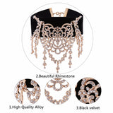 KMVEXO Luxury Brand Hollow Rhinestone Statement Necklace 2017 New Black Velvet Choker Necklace for Women Choker Necklace Jewelry