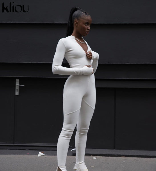 Kliou Black/white Sexy Bodycon Jumpsuit  Women 2020 new fitness Romper Long Sleeve Zipper elastic Jumpsuit